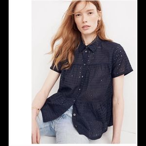 NWT MADEWELL Seamed Eyelet Lace Peplum Navy Top L